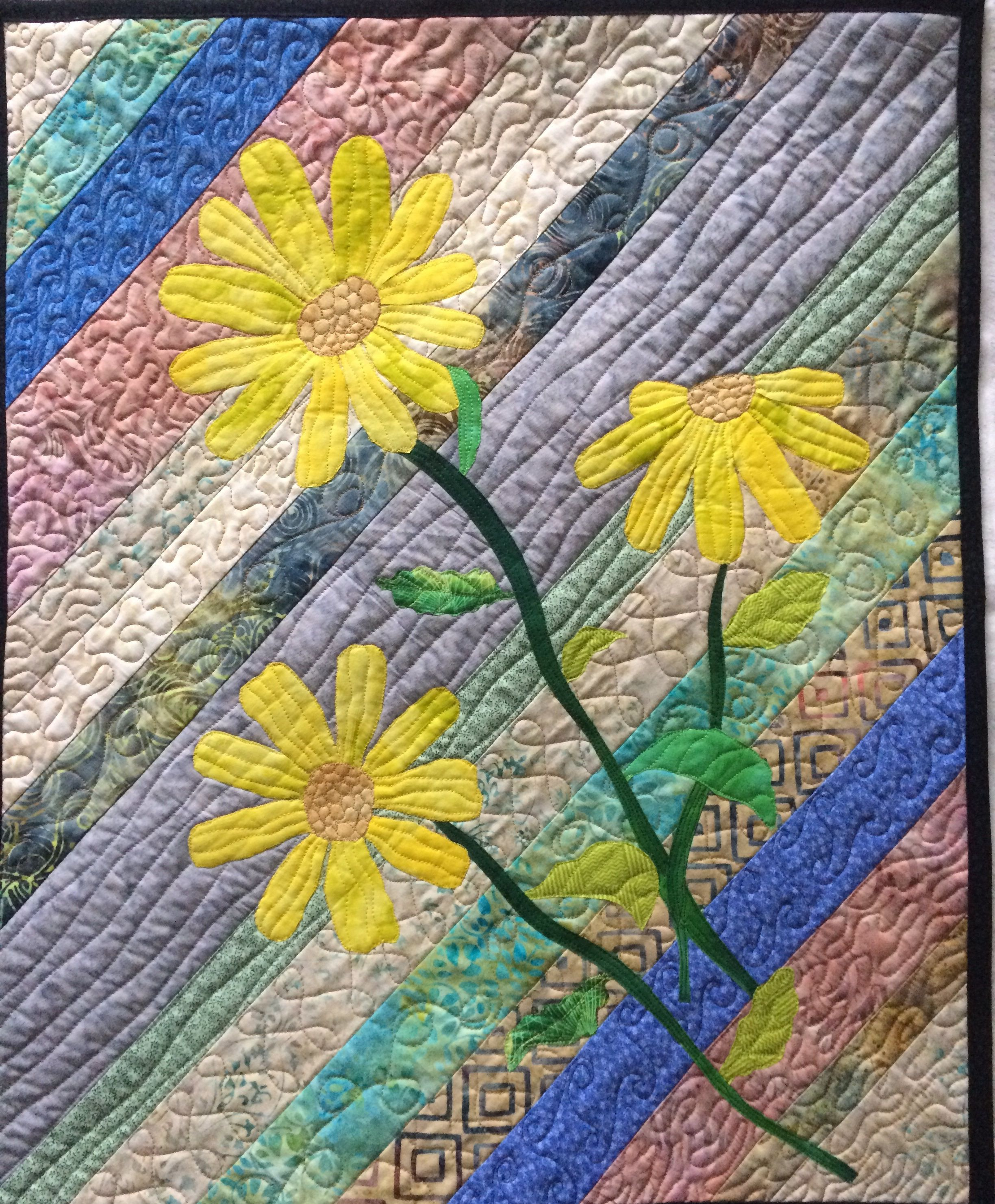 Art Quilt Three Yellow Daisies, Quilted Wall Hanging Flowers ...