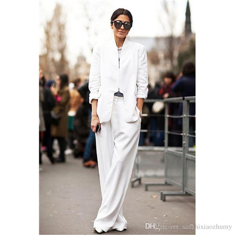 bfcb1403a535 Pantalones blancos de negocios trajes para mujeres Traje de noche Traje  Blazer Oficial uniforme a medida Nuevo 100% trajes