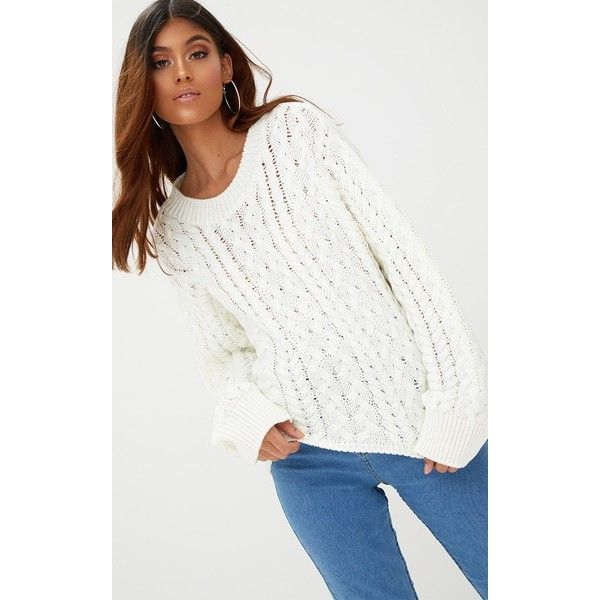 Cream Chunky Cable Knit Jumper ($23) ❤ liked on Polyvore ...