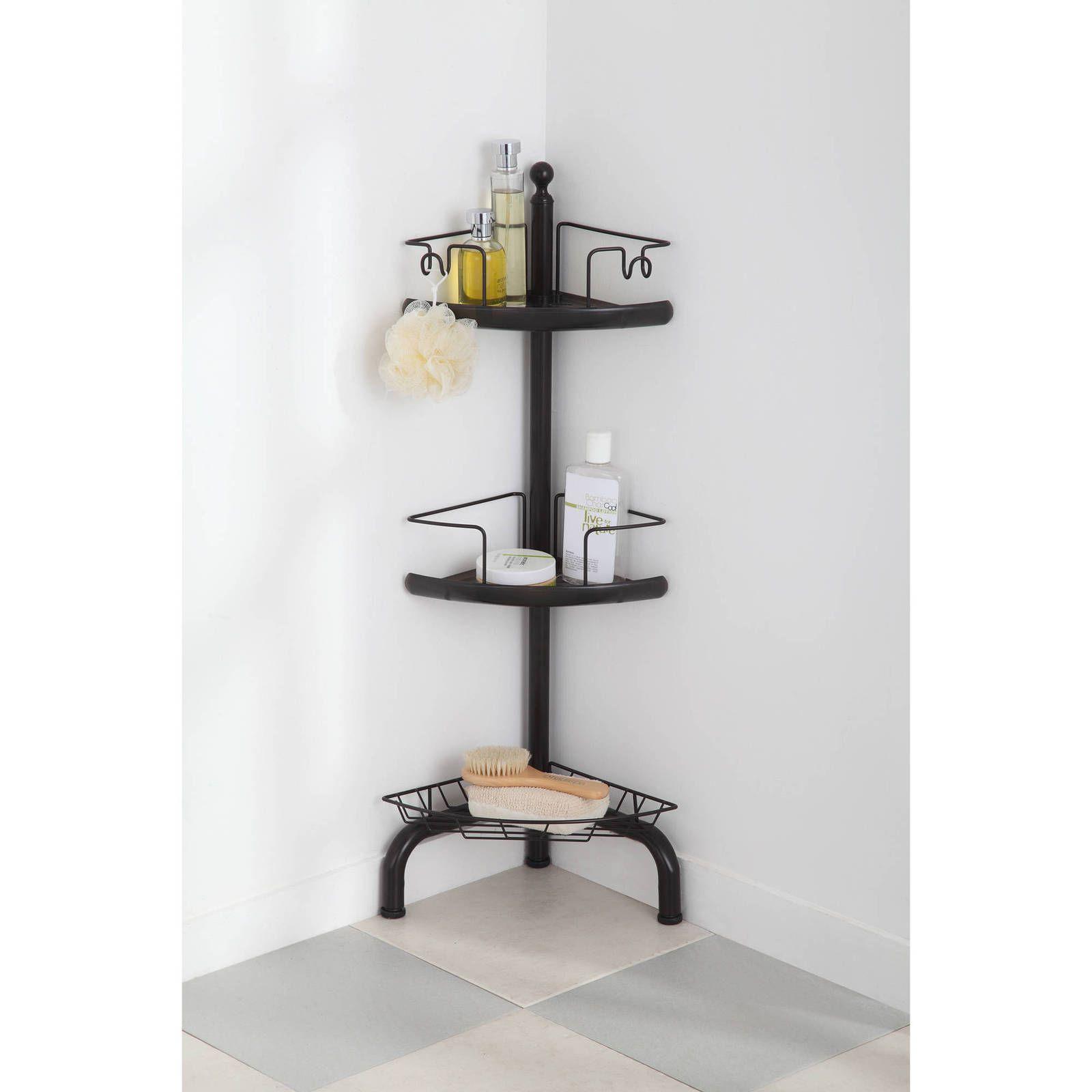 corner bathroom storage cart 3 shelving caddy organizer rack dual rh pinterest es