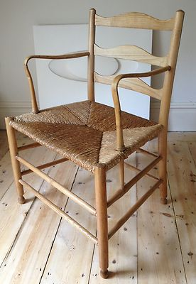 Cotswold School Arts & Crafts Ash Ladderback  armchair, style of Ernest Gimson