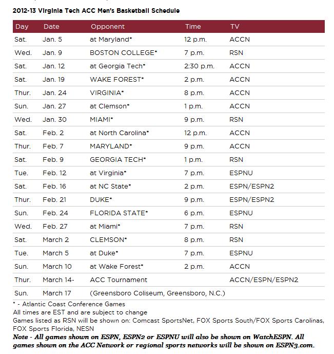 Virginia Tech Hokies Basketball Schedule Virginia Tech Hokies Basketball Acc Schedule 2013 Http Virginia Tech Hokies Virginia Tech Basketball Virginia Tech