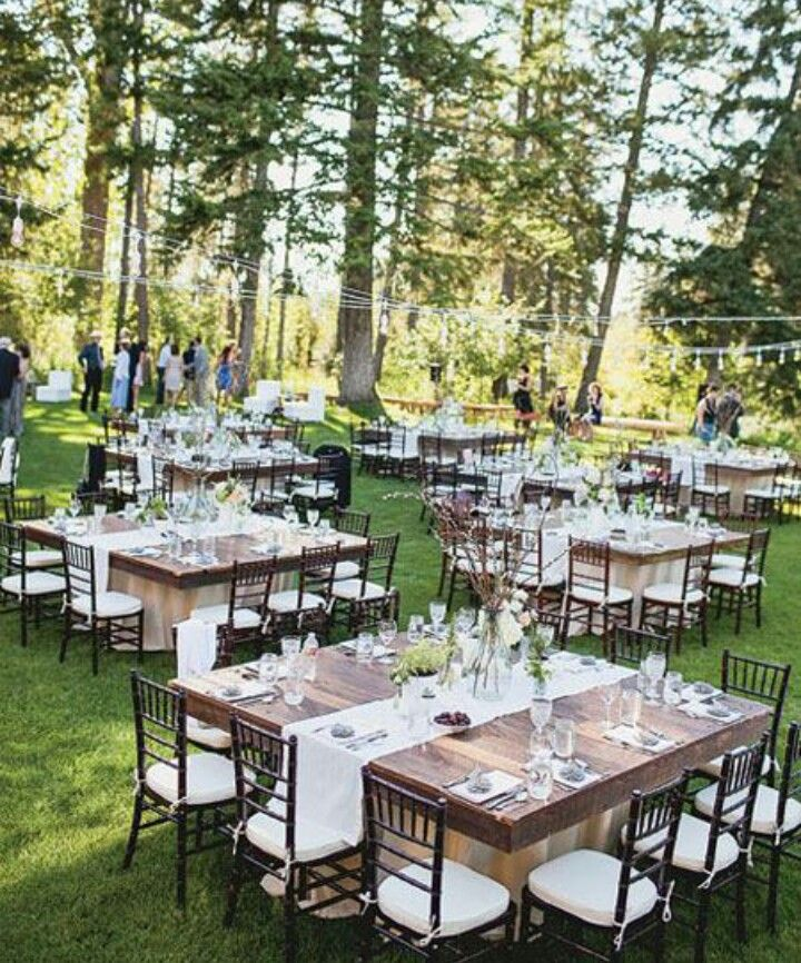 long table setup wedding reception%0A The table size and shape is perfect especially if round tables aren u    t  available  But for an outdoor wedding this is perfect