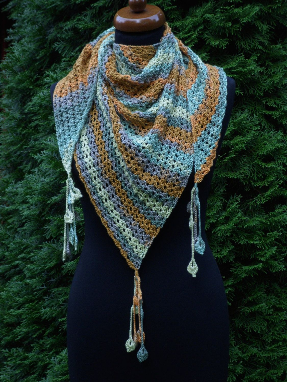 Cotton Crochet Triangle Scarf Baktus Shawl Xmas Gift Anniversary