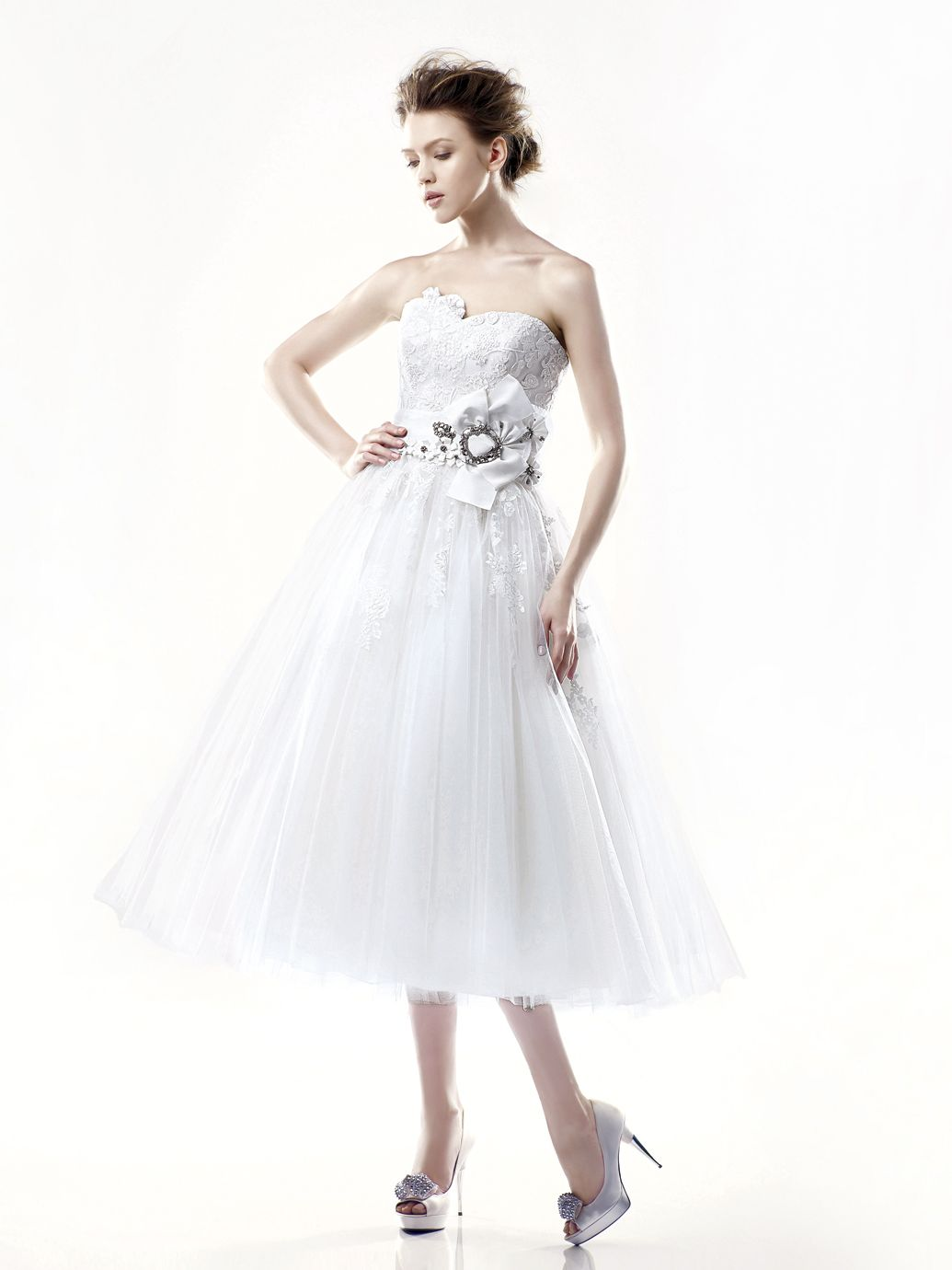 Blue danbury front view with ivory belt enzoani la sposa
