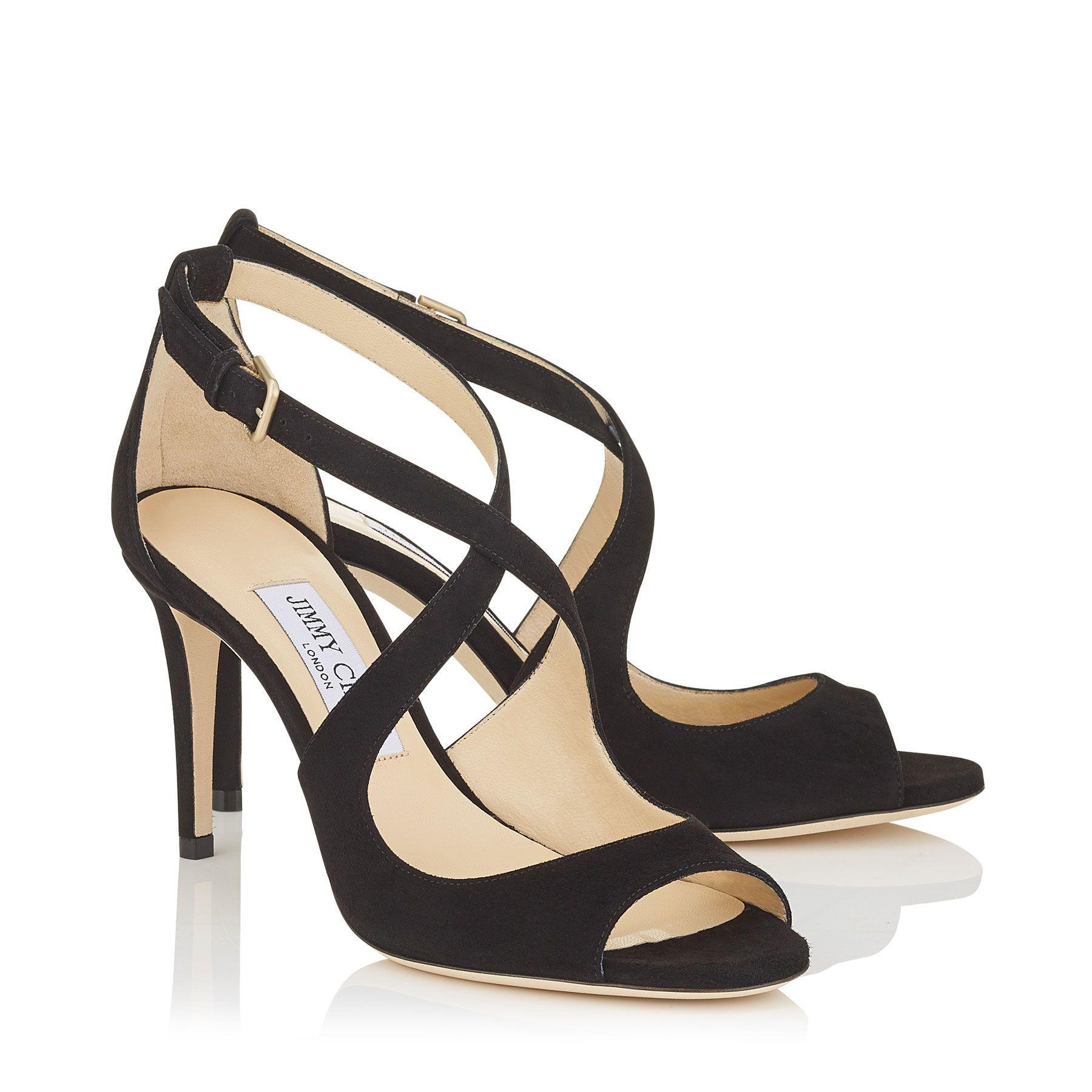 Jimmy Choo EMILY 85 Black Suede Sandals Women