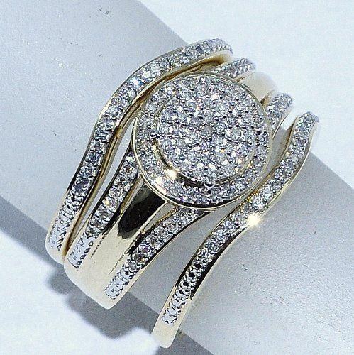 Amazon Com Wedding Ring Set 3 Piece 0 33ct W Round Halo Engagement Ring And 2 B Unique Diamond Engagement Rings Wedding Ring Sets Engagement Wedding Ring Sets