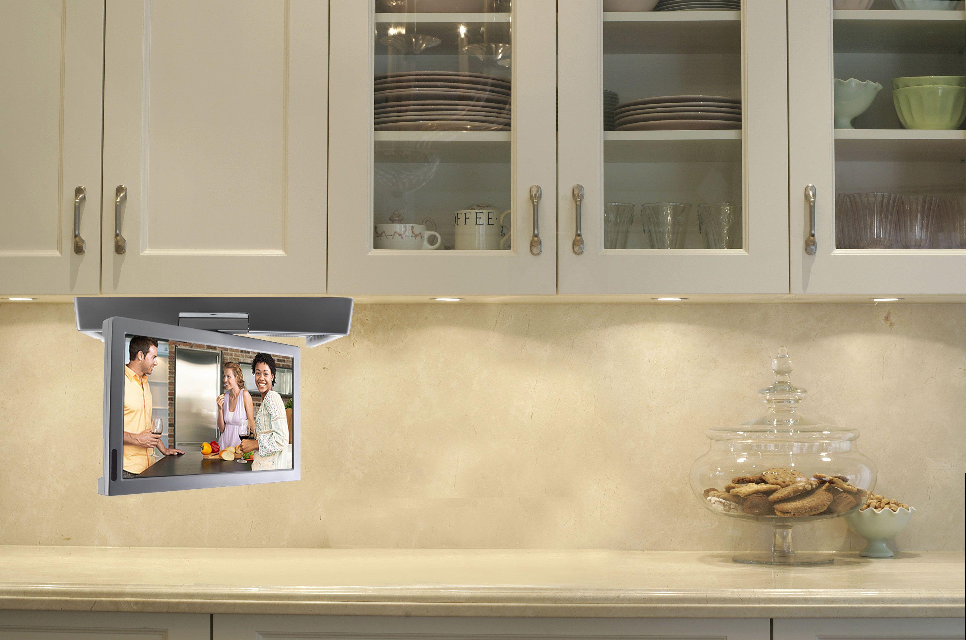 Pop out kitchen window  silver flipdown kitchen tv  kitchen tvs  flipdown tv pop up tv