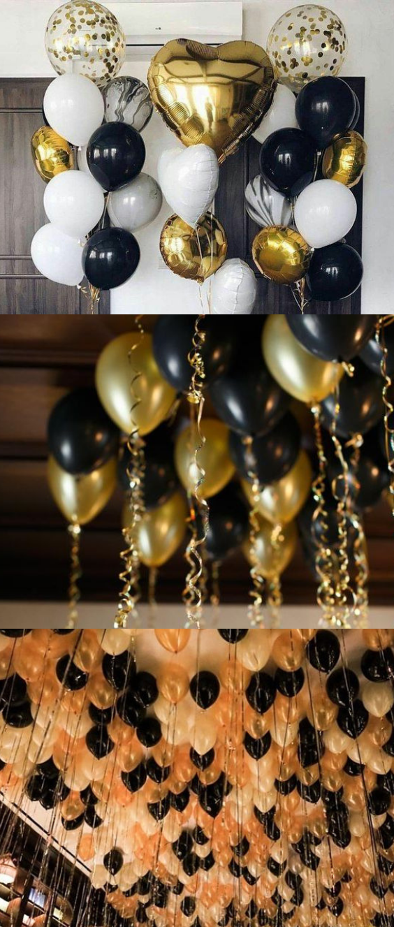 Black And Gold Balloons Decorations 30 Pcs Set Gold Bachelorette Party Black Gold Party Gold Theme Party