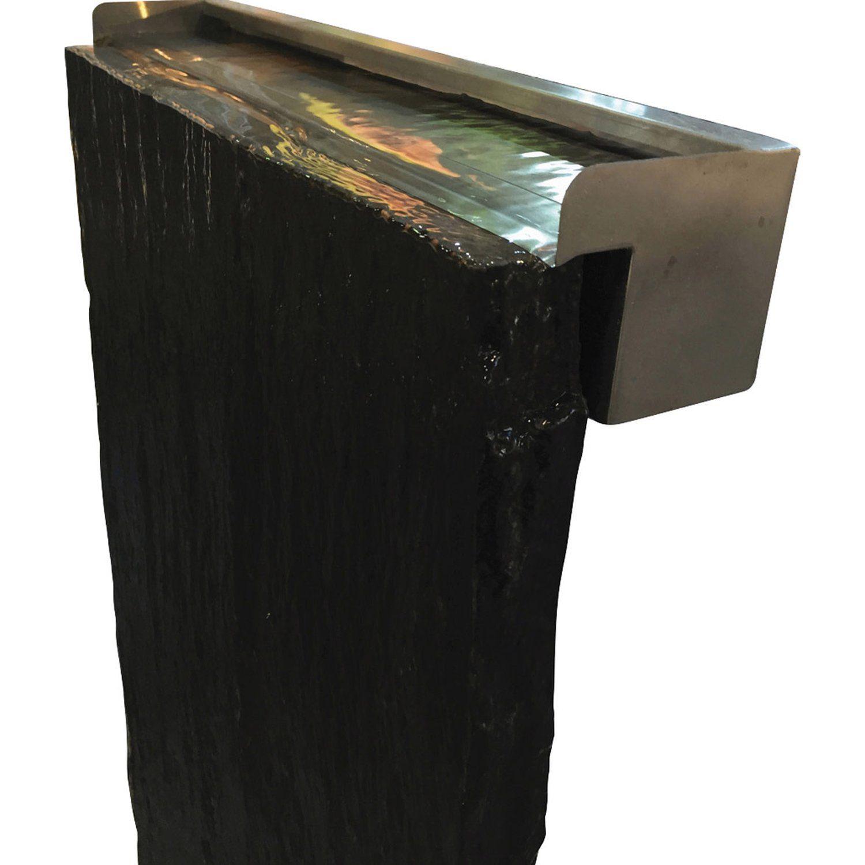 Farbkombination Aus Edelstahl Und Graphit Schiefer Schieferplatte Taco 200 Cm X 50 Cm X 3 7 Cm Inkl Wasserfall Gartende Schieferplatte Schiefer Wasserfall