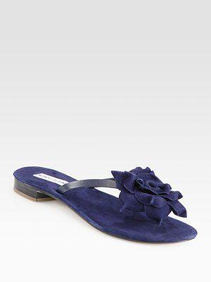Manolo Blahnik - Patricia Suede Flower Thong Sandals - Saks.com