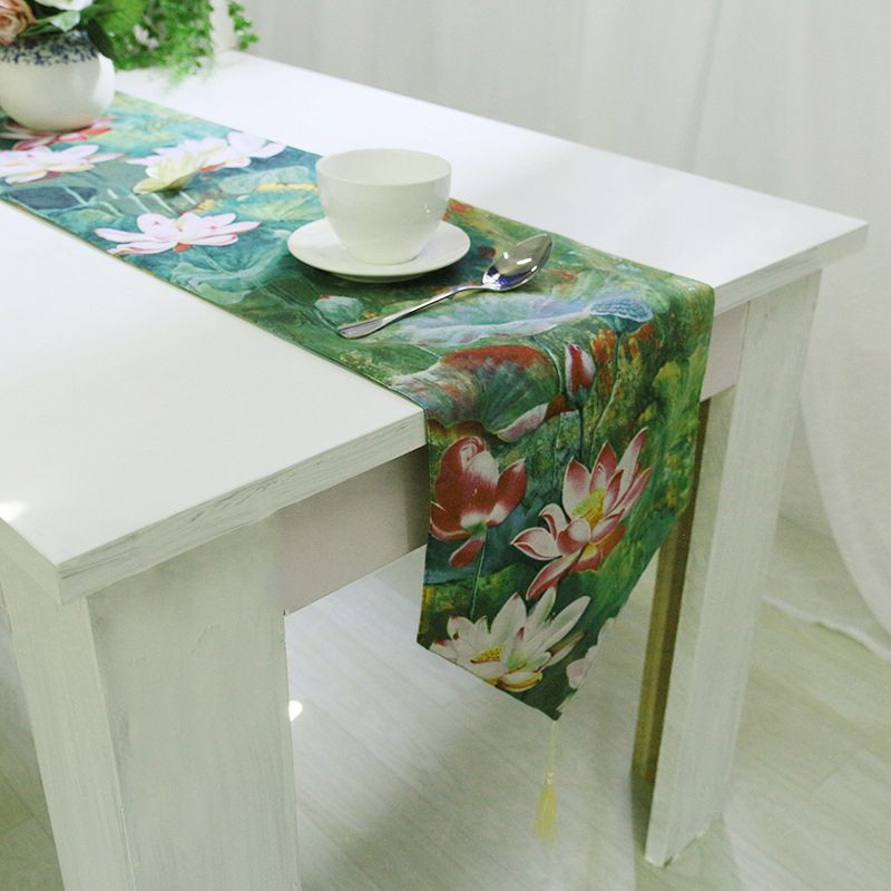 chinese table runners green lotus with tassel tablecloth wedding rh pinterest com