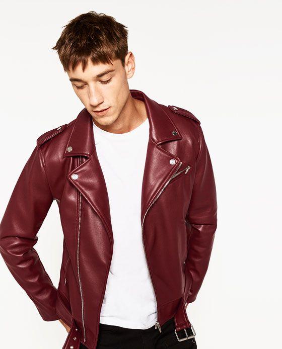 chaqueta de piel zara roja