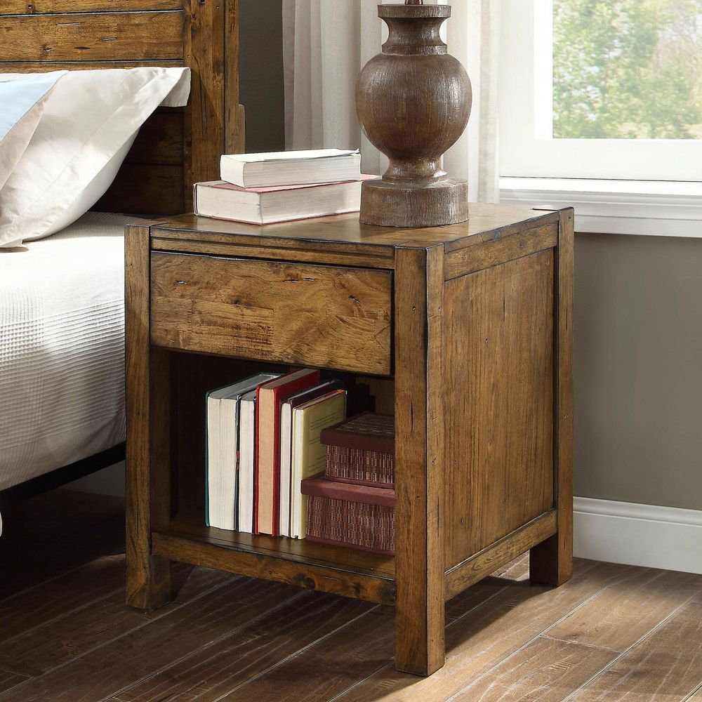 1 Drawer Nightstand Bedside Or End Table Bedroom Furniture Rustic