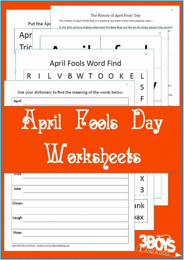 April Fools' Day Worksheet for Grades 3,4,5 - TeacherVision