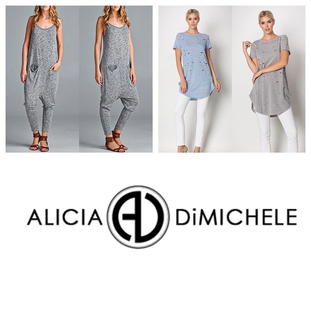 """NEW ARRIVALS! Don't forget to shop what's hot at Alicia DiMichele Boutique  SEARCH: """"Jocelyn Tee"""" (Available in Blue & Grey)  """"Rami Jumpsuit""""  CODE: """"FREESHIP"""""""