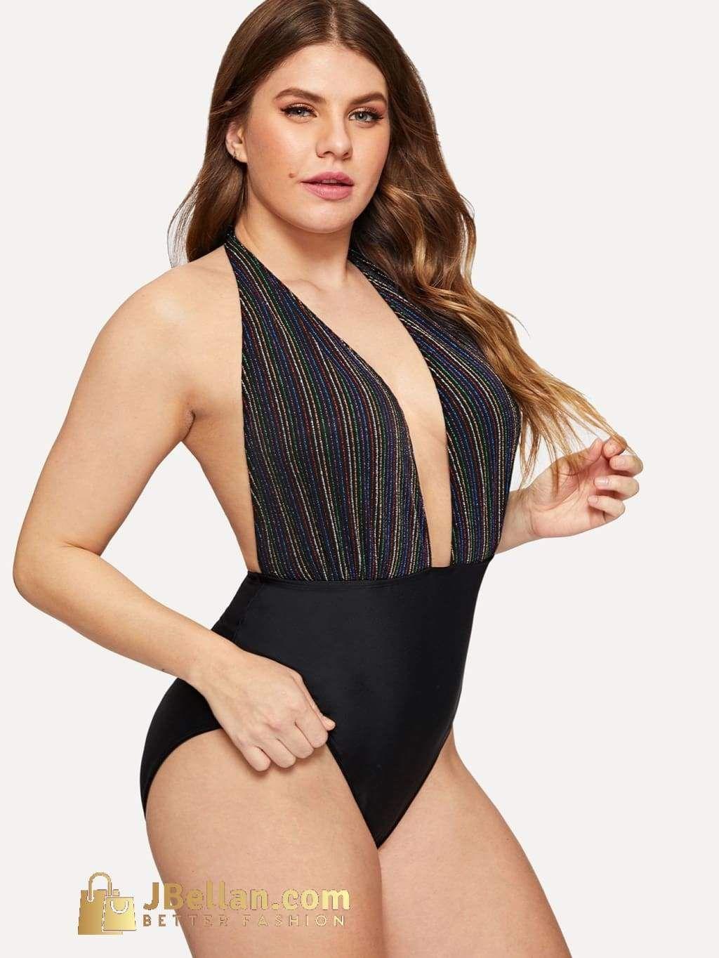 d7316e0aac Plus Striped Plunge Halter Backless One Piece Swimwear in 2019 ...