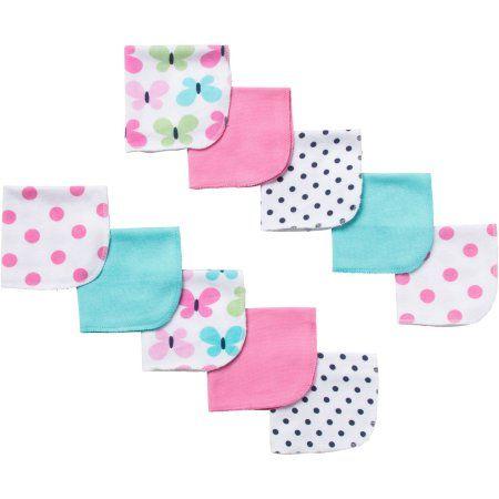 3a691b234 Gerber Newborn Baby Girl Terry Printed Butterfly Washcloths - 10 pack -  Walmart.com