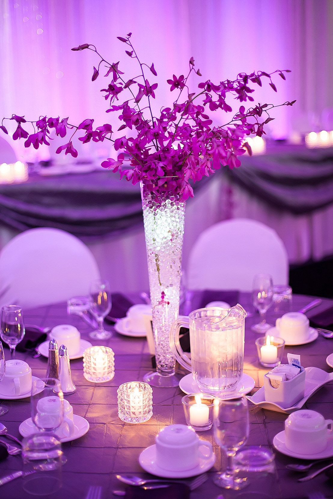 Wedding decoration ideas purple  Edmonton purple wedding reception photos by Nathan Walker