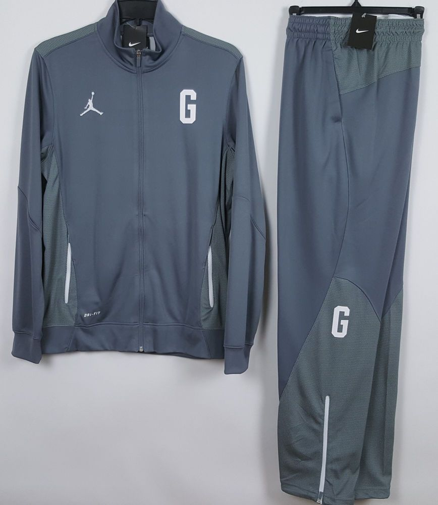 afea41f1604a NIKE AIR JORDAN GEORGETOWN HOYAS WARM UP SUIT JACKET + PANTS GREY NEW (SZ  LARGE ...