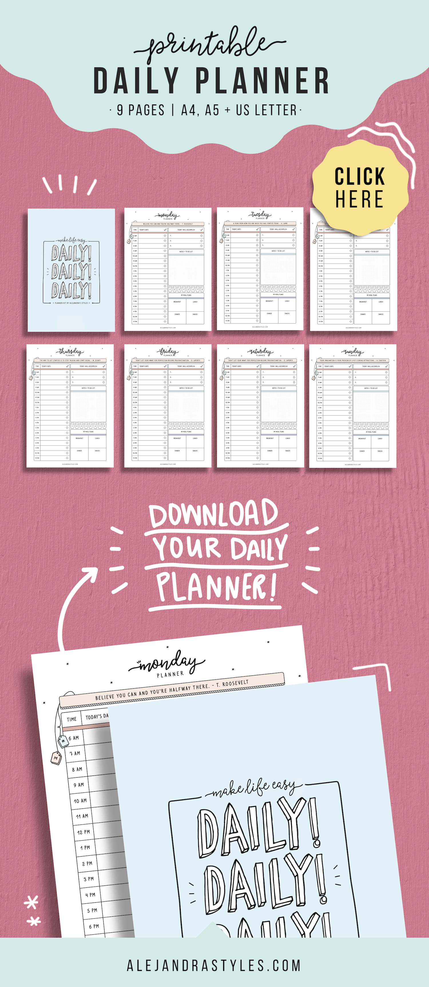 daily schedule printable hourly daily planner productivity agenda rh pinterest com