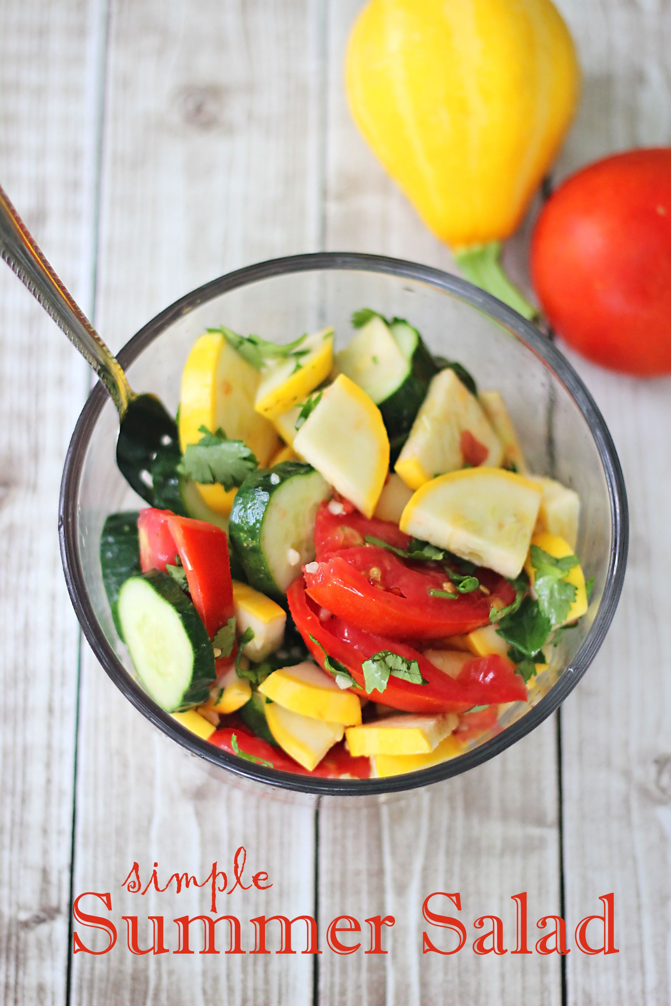 Simple Summer Salad #EasyCookingWithPam - Sweet T Makes Three 1 cup diced tomatoes 1 cup sliced summer squash or zucchini 1 cup sliced cucumber ¼ cup chopped cilantro or basil 1 Tbsp minced garlic PAM Purely Olive Oil 3 Tbsp vinegar (rice or apple cider are good choices) salt and pepper to taste