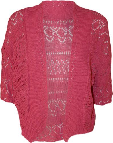 fef93a302c PaperMoon Women s Plus Size Crochet Knitted Short Sleeve Cardigan - Cerise  - US 14-16 (UK 18-20)  13.45  PaperMoon  Sweaters