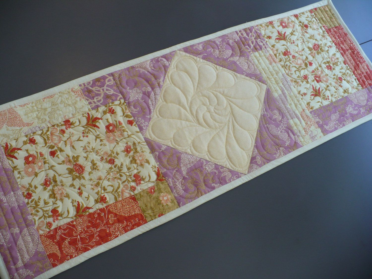 spring quilted table runner coral and cream table topper lavender rh pinterest co uk