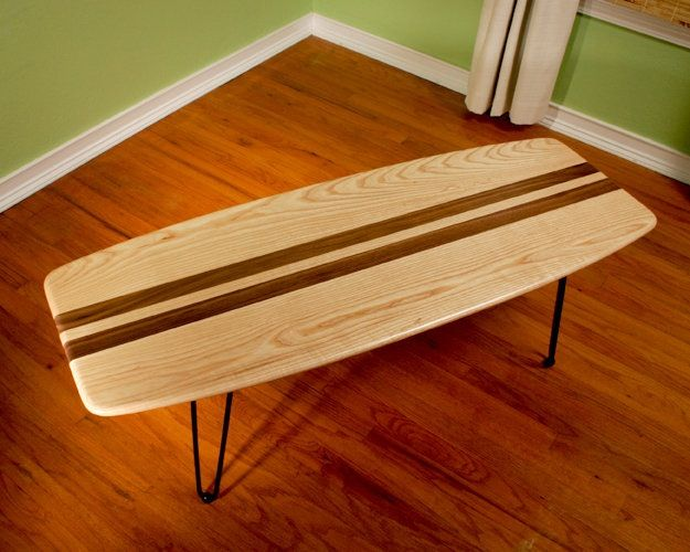 Ash With Walnut Racing Stripes Surf Board Coffee Table By T.S. Varner ...