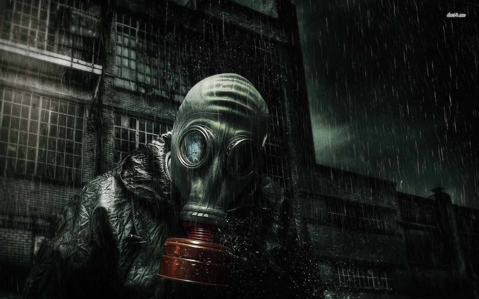 Gas Mask Art Wearing A Gas Mask In The Rain Wallpaper