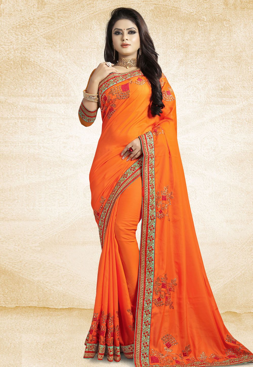 af51e01df4 Buy Orange Satin Embroidered Festival Wear Saree 162367 with blouse online  at lowest price from vast collection of sarees at Indianclothstore.com.