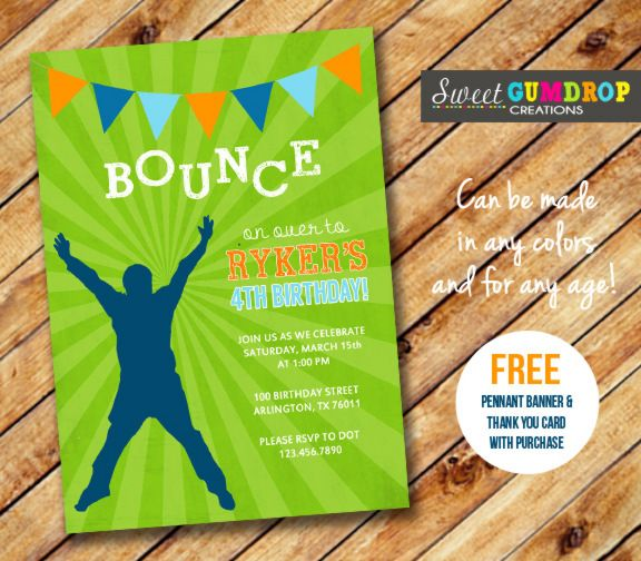 Printable Bounce House Birthday Invitation Jump Castle