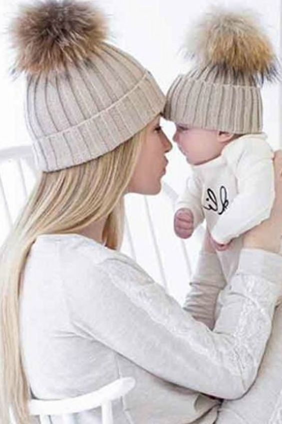 1051b6352 Mommy and Me: Mom And Baby Winter Knitting Keep Warm Hat Sport Cap ...
