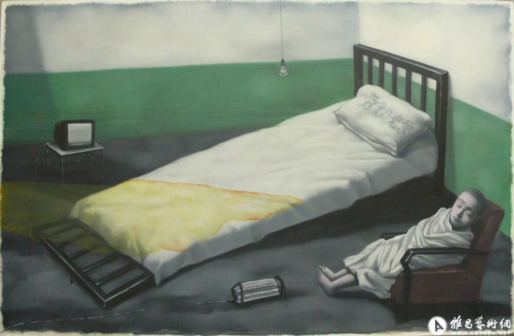 Zhang Xiaogang The Collapsed Bed (2010) oil on canvas