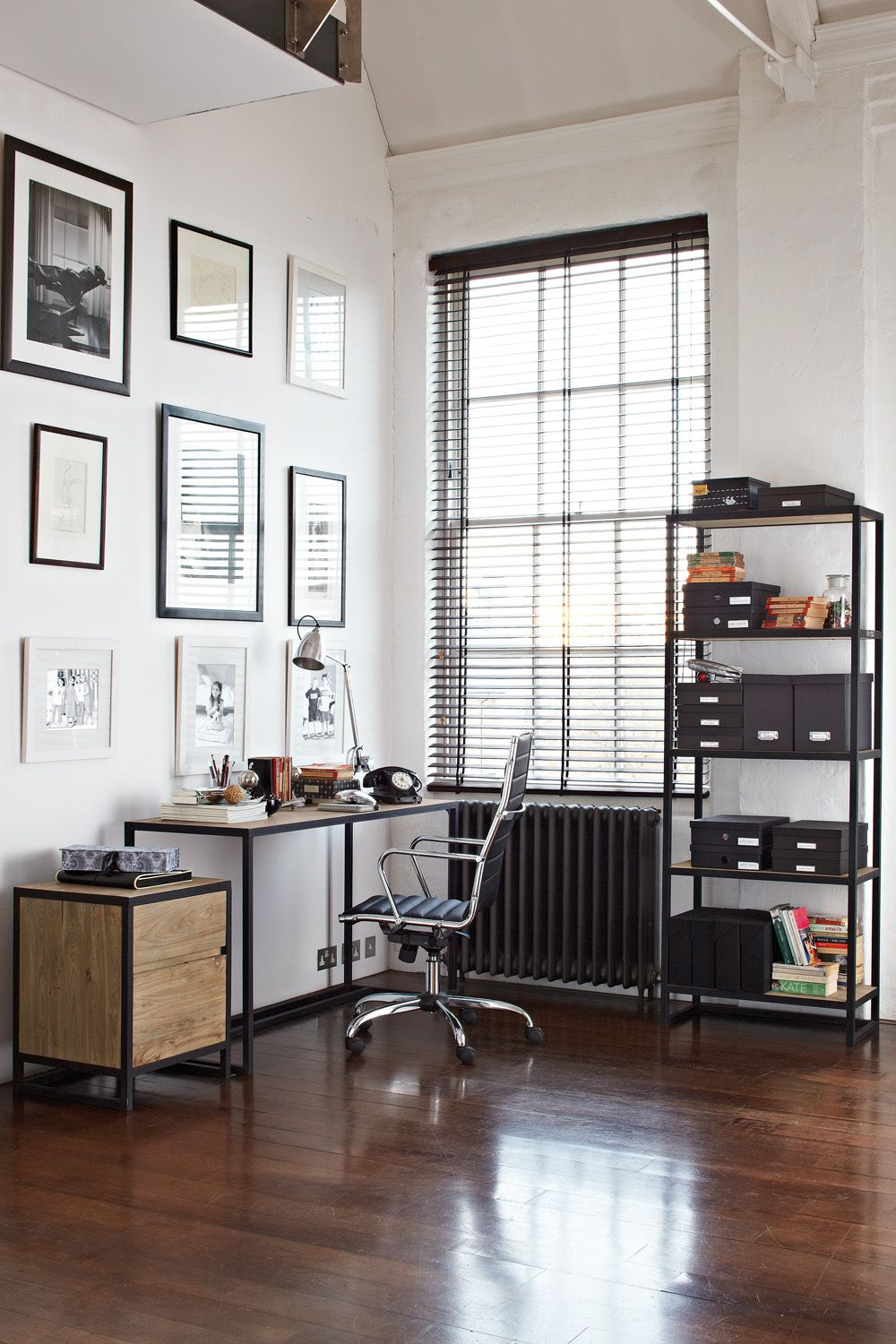 Industrial Style Home Office. Lighting Adds An Industrial Touch To ...
