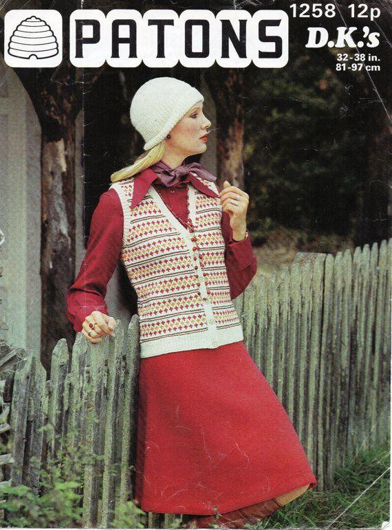 womens fair isle waistcoat knitting pattern pdf ladies | Vintage ...