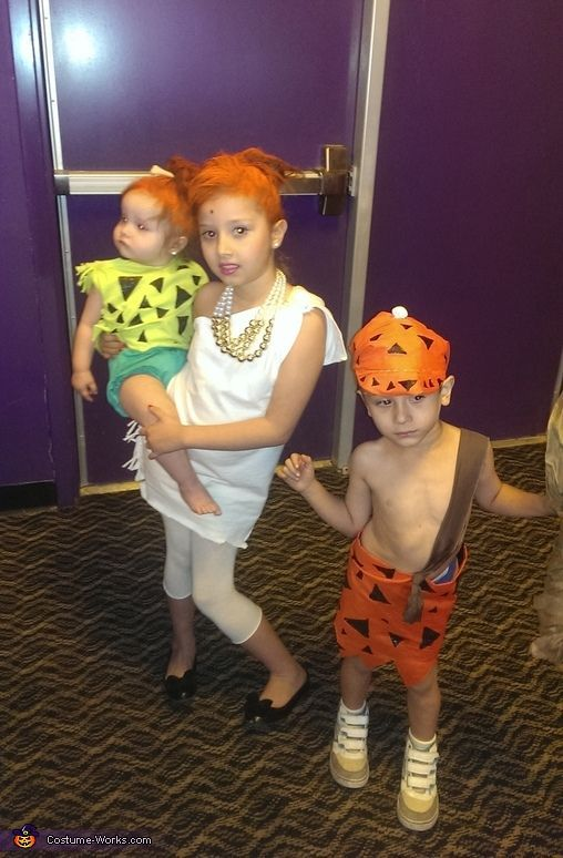 Flintstones Wilma, Pebbles and Bam Bam - Halloween Costume Contest at Costume-Works.com #pebblesandbambamcostumes Brenda: Made If m'y self out of old clothes and material i had purchased. Pebbles: My 1yr old is wearing thé costumé i made with àn old t shirt from m'y... #pebblesandbambamcostumes