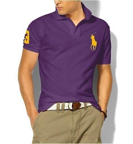 大馬polo衫 經典馬球3號男款翻領短袖t恤 紫色黃標