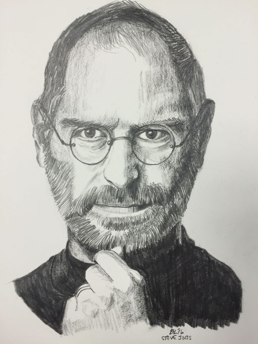 Pencil drawing of steve jobs by barry m levy see his work on etsy com