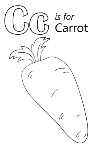 Letter C is for Carrot coloring page from Letter C category ...