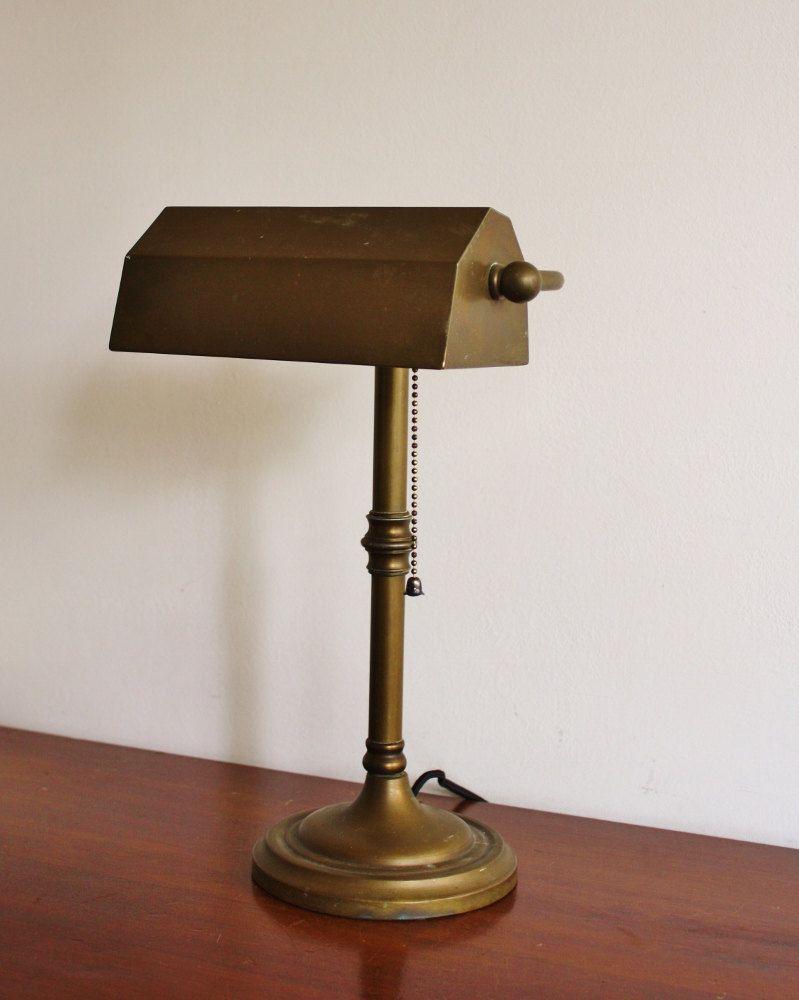 Vintage Bronze Bankers Lamp 125 00 Via Etsy Lamp Bankers Lamp Vintage Bronze