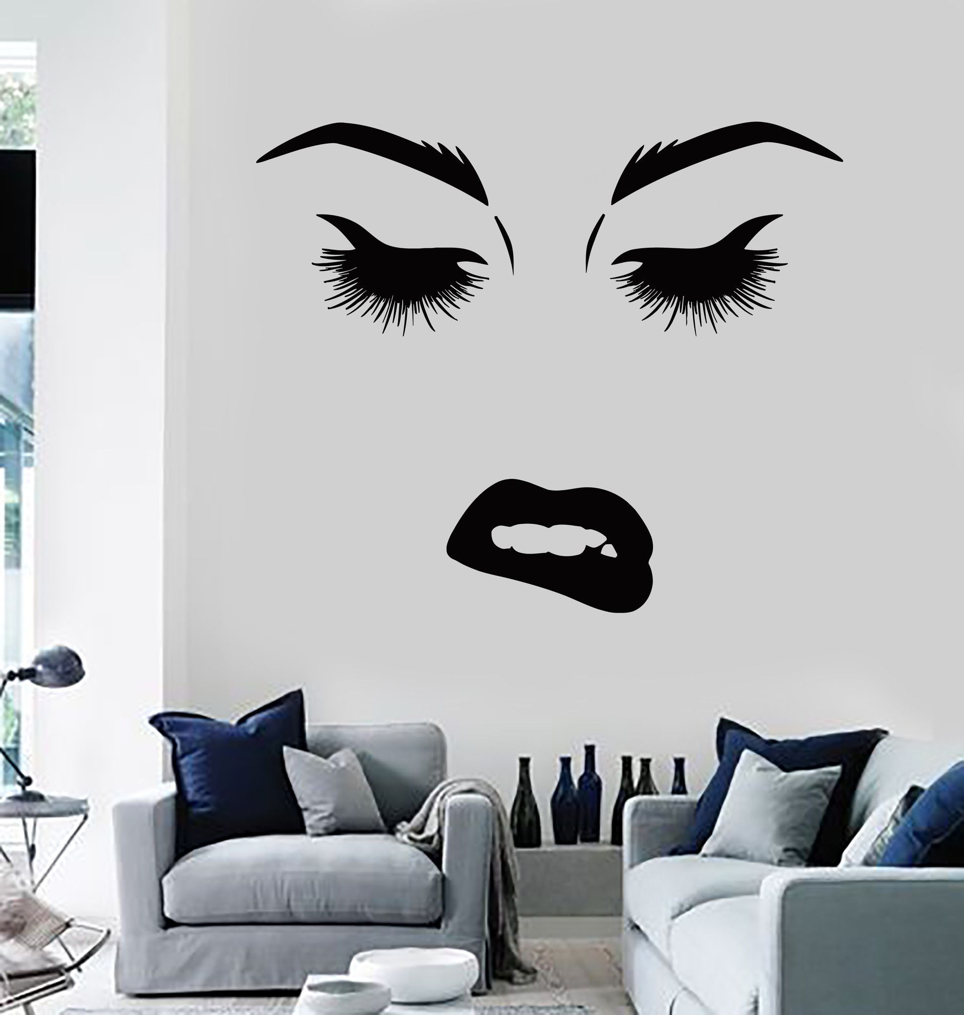 Vinyl wall decal beauty woman face eyes lips lashes stickers vinyl wall decal beauty woman face eyes lips lashes stickers murals ig4690 amipublicfo Images