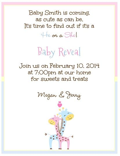 Pitter Patter Baby Shower or Gender Reveal Party Invitation pink – Baby Gender Reveal Party Invitation Wording