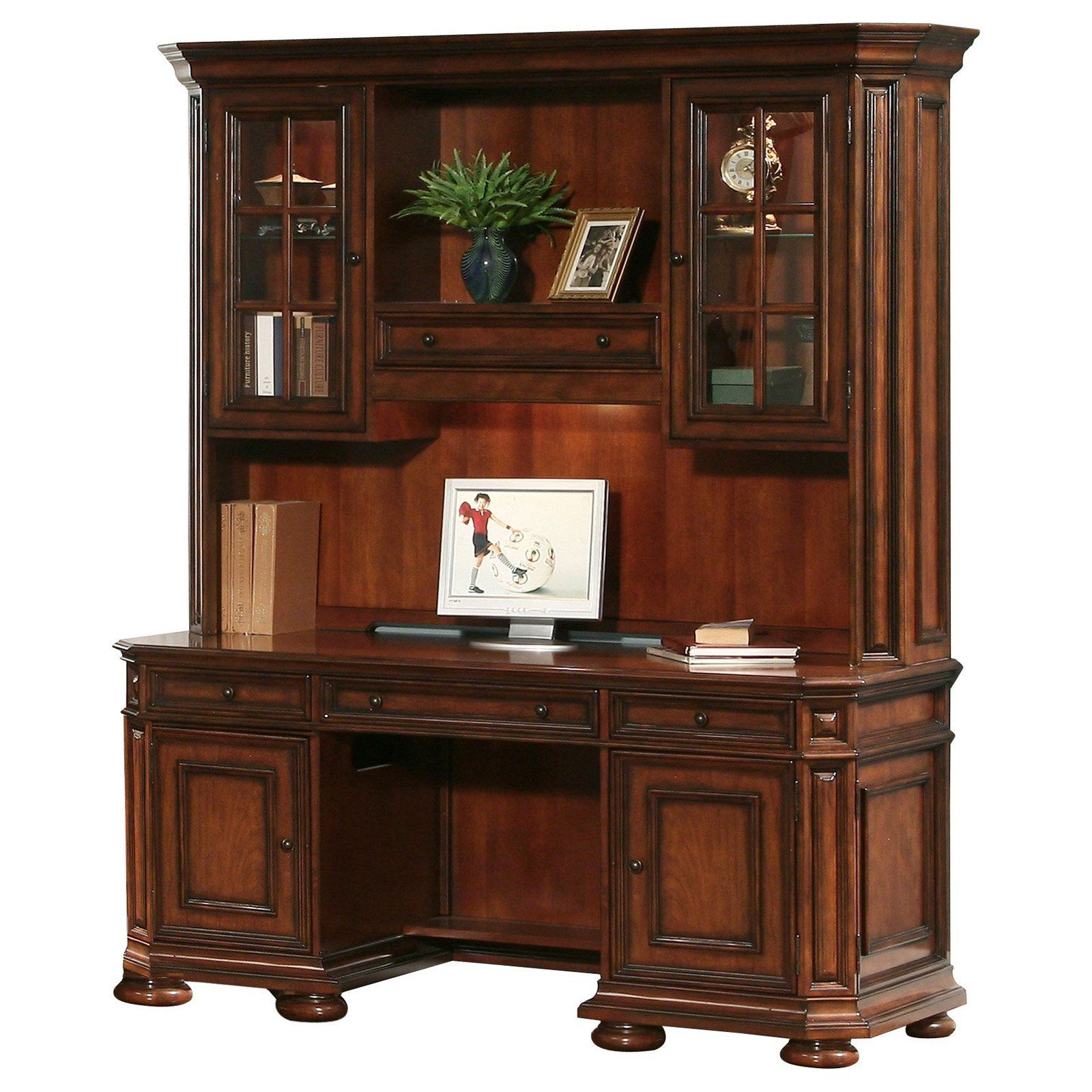 riverside cantata credenza and hutch computer desk rvs1068 rh pinterest es