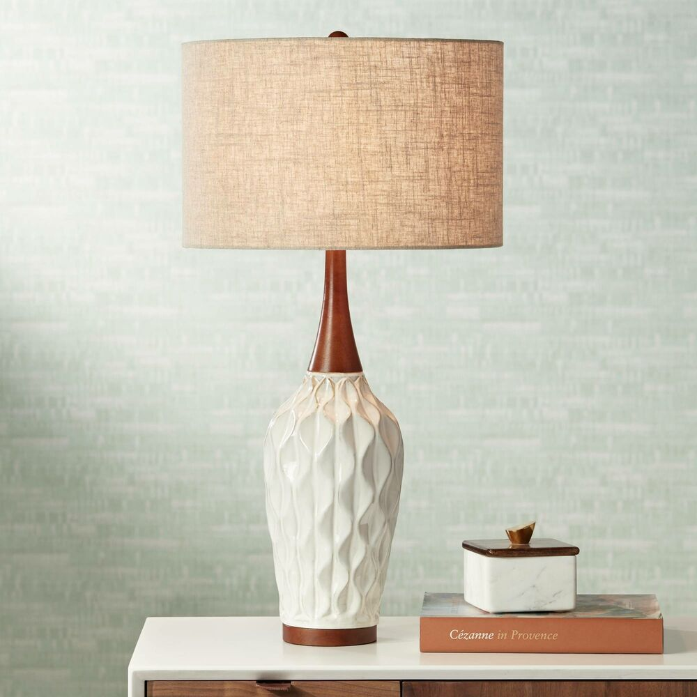 mid century modern table lamp ceramic wood white for living room rh pinterest com