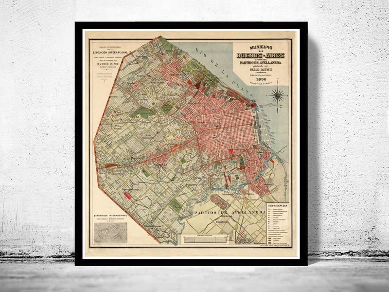 Map Usa East Coast Cities%0A Old Map of Buenos Aires   Argentina      Vintage map  product images of