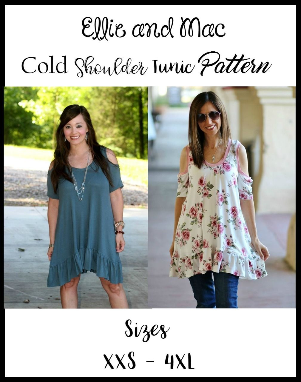 fc493f3aafd Teen / Women's Cold Shoulder Tunic Top PDF Sewing Pattern by Ellie and Mac