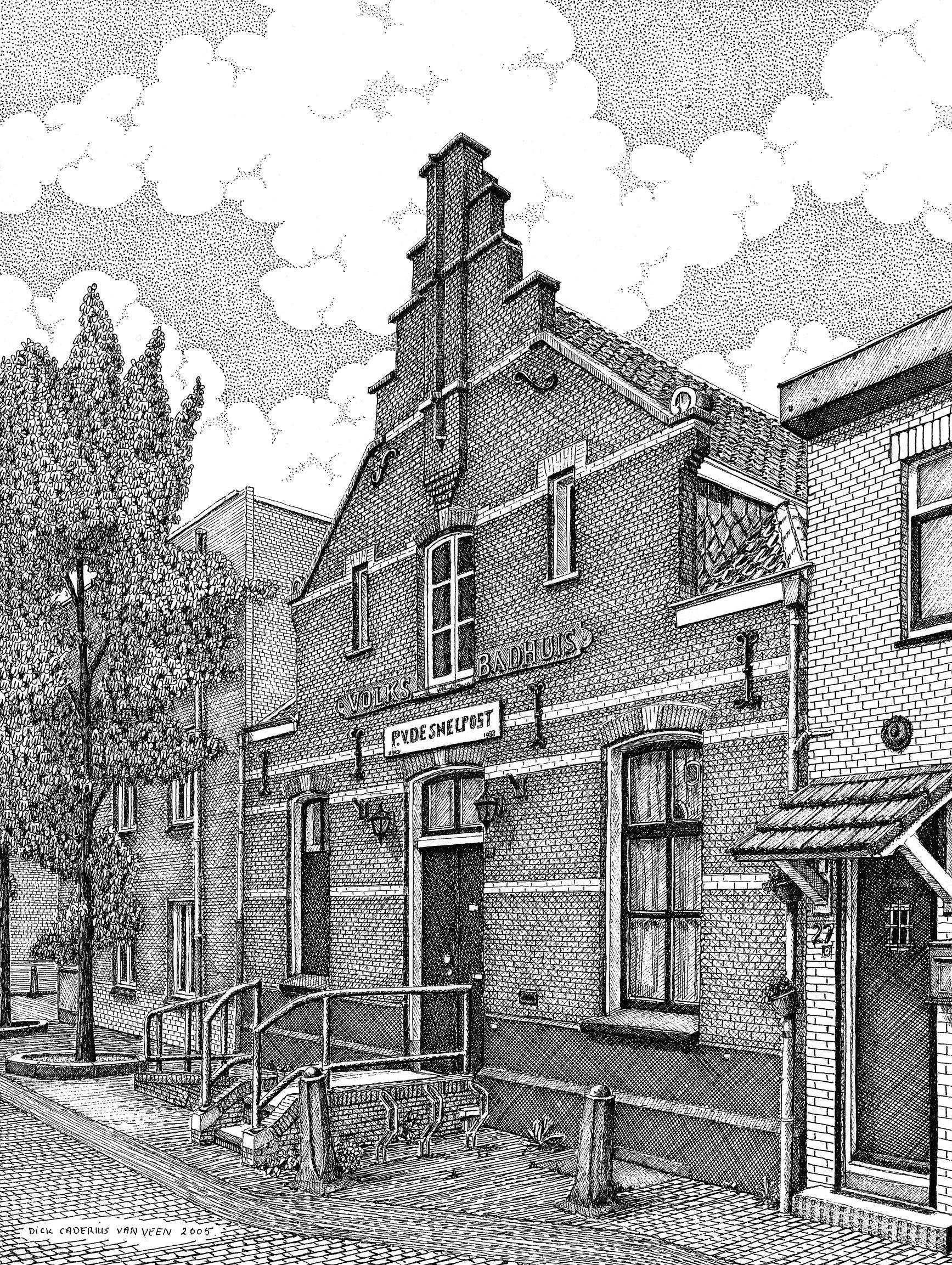 Badhuis Klarendal, tekening Dick Caderius van Veen