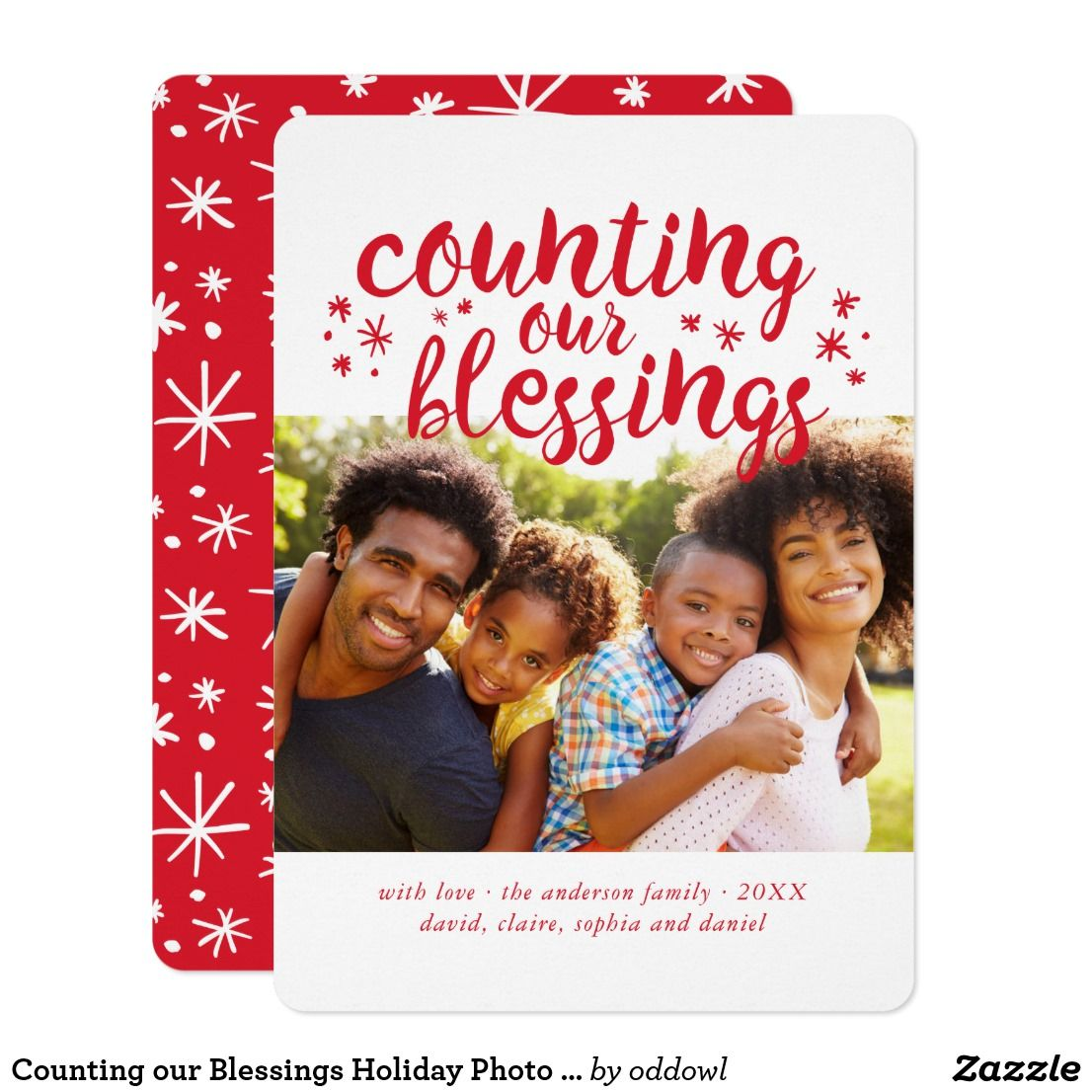 Counting Our Blessings Holiday Photo Card Zazzle Com Family Holiday Photo Cards Photo Cards Holiday Design Card