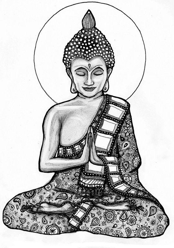 Buddha 2 Mandala Noir Et Blanc Mandala Dessin Et Dessins Tribaux